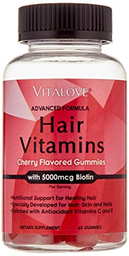 Vitalove Hair Vitamins- Chewable Cherry Gummy- High Potency Biotin 5000mcg ; Enhanced with Antioxidants and Vitamins; Supports Men and Women Hair Growth, Made in USA, Gluten Free, Dairy Free