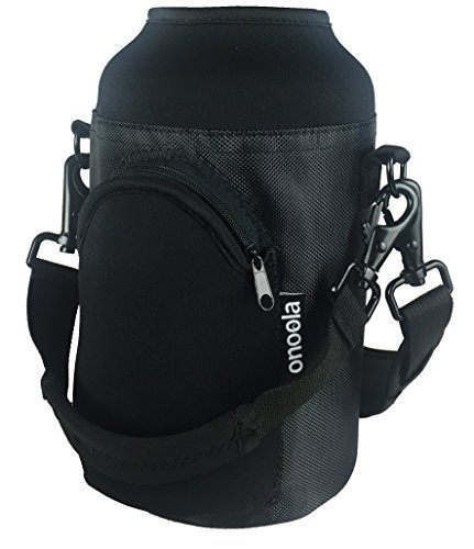 Onoola 64oz Pocket Carrier for Hydro Flask Type Growler Bottles with Padded Adjustable Straps (Onyx) ()