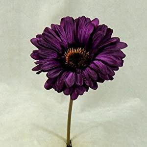 Inspired By Nature Package of 12 Realistic Deep Purple Artificial Polysilk Gerbera Daisy Stems for Decorating and Arranging 16