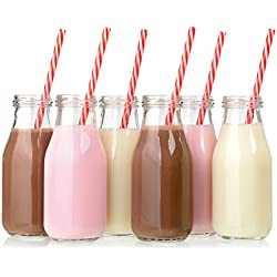 11 Ounce Glass Milk Bottles with Straws, Set of 12