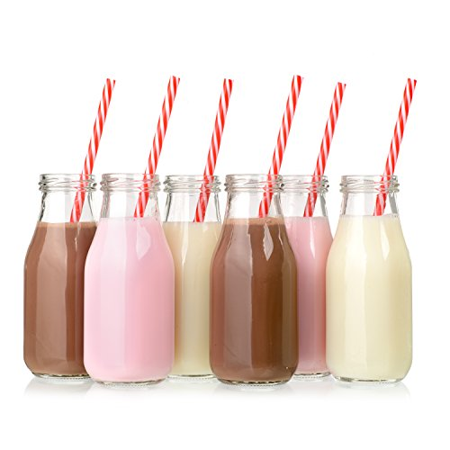 Glass Milk Bottles with Lids 11oz (12-Pack), Juice Bottles with Lids, Vintage Breakfast Shake Container, Vintage Drinking Bottles for Party, Glass Bottle with Straw and Lid for Kids, Milk Glass Set ()