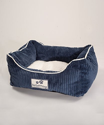 Pet Soft Things Dog Paw Flannel Pet Bed with Reversible Pillow, 19 x 24 x 8, Navy by BNF Home