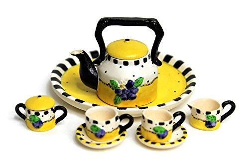 10 Porcelain Finish - Unique Design Dollhouse Miniature Semi Matte Look Finish Porcelain Tea Set, 10 pcs Set, Grape Branch, Fruit Design, Hand-Painted, Miniature Fairy Garden Accessories, DIY Charm Pendant Jewelry Supply.