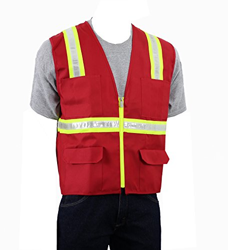 Safety Depot Two Tone Red Reflective Surveyor Safety Vest with Zipper and Pockets Hi-Vis - Vests Safety Disposable