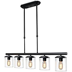 LALUZ 5-Light Linear Pendant Lighting Transitional Kitchen Island Lighting Chandeliers