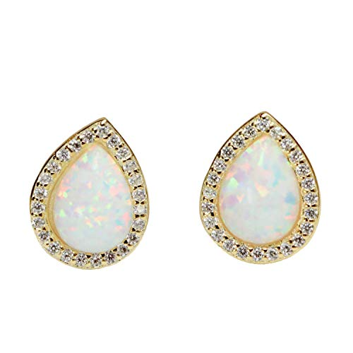 Large White Opal Teardrop Halo Pave Stud Earring 14k Gold Plated Sterling Silver Wedding Jewelry