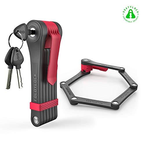 Foldylock Clipster Folding Bike Lock | Wearable Compact Bicycle Lock | Heavy Duty Fold Bike Lock | Anti Pick Bike Folding Lock with Key Set | Weight 2.2lb - Red ()