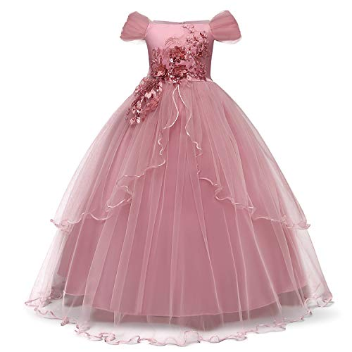 NNJXD Girl Sleeveless Embroidery Princess Pageant Dresses Kids Prom Ball Gown