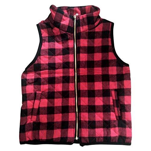 [해외]Sleeveless Jacket for Women Casual Front Cardigan Color Block Lapel Plaid Pockets Zipper Vest Coat Outerwear / Sleeveless Jacket for Women Casual Front Cardigan Color Block Lapel Plaid Pockets Zipper Vest Coat Outerwear