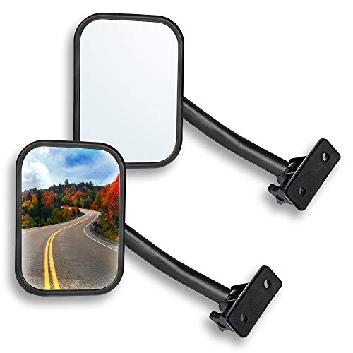 Door Off Mirror for Jeep Wrangler TJ JK 4x4 Off-road Morror Rectangular Mirrors Quick Release Side View Mirror, 2 Pack