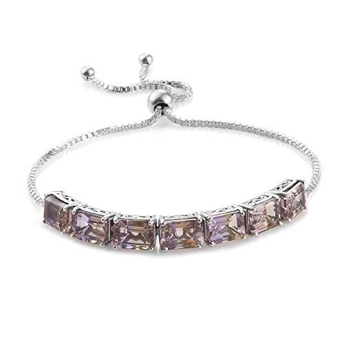 (925 Sterling Silver Platinum Plated Octagon Ametrine Bolo Tennis Bracelet for Women Cttw 8.6)