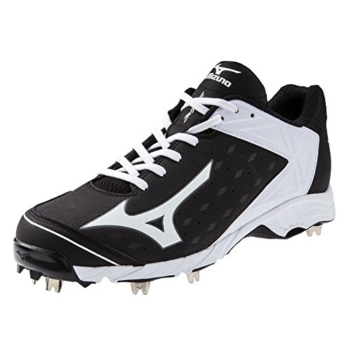 5 Low Metal Baseball Cleat - Mizuno Men's 9-Spike Advanced Swagger 2 Low Metal Baseball Cleat - Black & White (10.5)