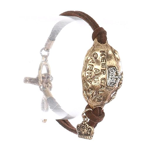 FB Jewels Solid Aged Metal Faux Suede Message Keep Calm and Carry On Hammered Two Tone Crown Charm Double Strand Toggle Closure 7 in Long 7/8 in Tall Bracelet