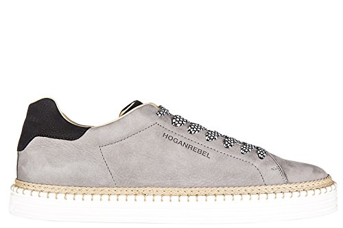 Hogan Rebel chaussures baskets sneakers homme en cuir r260 allacciato gris
