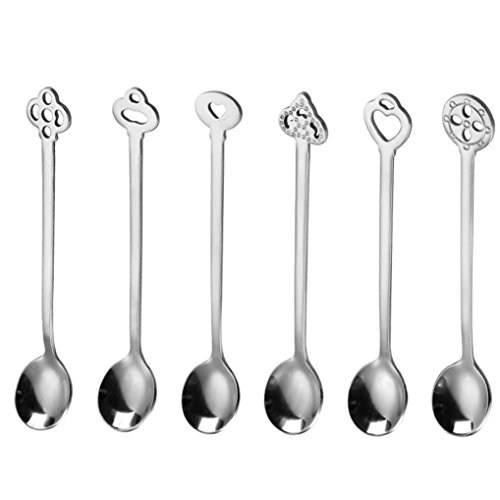 Spoon Handle Spoons Flatware Ice Cream Drinking Tools Kitchen (Silver) ()