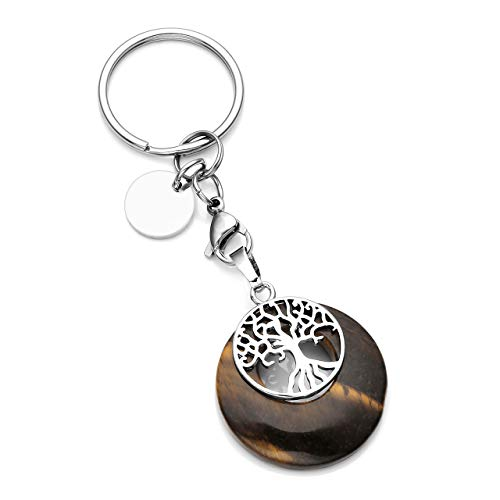 CrystalTears Tree of Life Silver Charms Keychain Tiger Eye Healing Crystal Chakra Pendant for Womens Mens