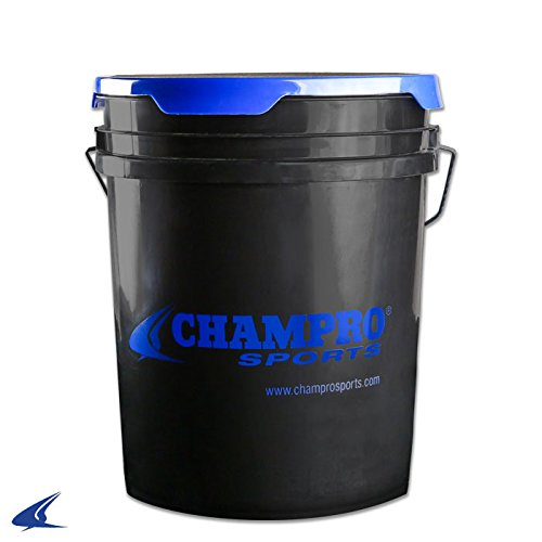 Champro Sports Ball Bucket W/Lid-5 gallon Black, 5 (Black Ball Bucket)