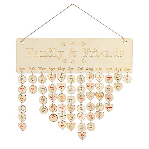 Joy-Leo Gifts for Moms Dads - Wooden Perpetual Birthday Reminder Calendar Plaque Wall Hanging [100 Wood Discs/Engraved Pattern ], for Family & Friends & Classroom