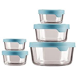 Anchor Hocking TrueSeal Glass Food Storage Containers with Airtight Lids Mineral Blue –