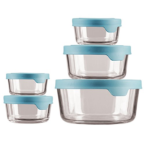 ECOM TrueSeal Glass Food Storage Containers with Airtight Lids, Mineral Blue ()