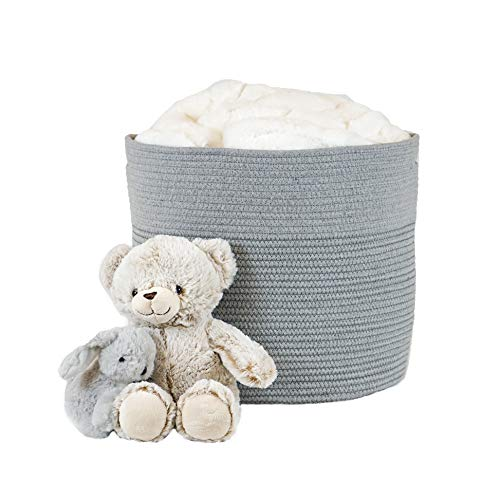 Cotton Rope Storage Basket with Handles | Large Baby Nursery Bin | Kids Toy Bins | Laundry Hamper for Blanket and Towel | Living Room Decor | Decorative Organizing Baskets ()