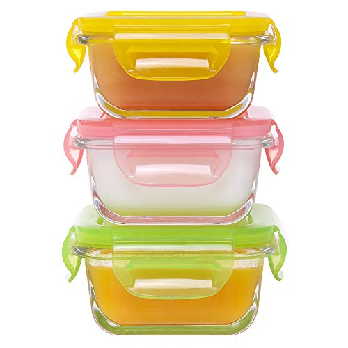 AILTEC 3 Pack Glass Baby Food Storage Containers, 5.08 oz Square Multiple Colors Mini Meal Prep Containers, BPA Free Airtight Locking Lids, Microwave, Freezer, and Dishwasher Safe
