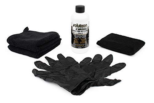 (Solution Finish Full Installation KIT: 12 oz Black Plastic Trim Restorer Super Size 12 oz + 2 Microfiber Towels from The RAG Company + Applicator Sponge + Gloves )