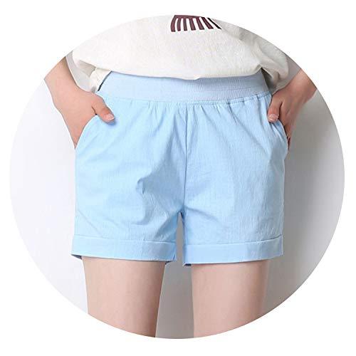 (Black rainbow 2019 American BF Summer Wind Female high Waist Linen Shorts Women Loose Elastic Waist Plus Size,L Sky Blue)