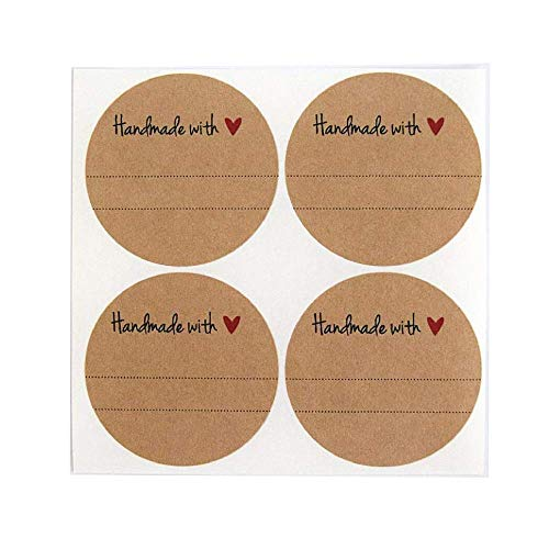 Red Round Gift Stickers - Handmade with Love Labels with Red Heart Design by Once Upon Supplies, Canning Mason Jar Labels Stickers, 2.5