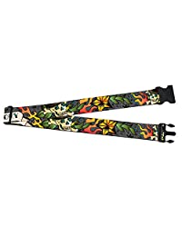 Skull with Cross Bones Flames Floral Collage Luggage Strap