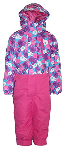 Pulse Little Girls' and Toddler 1 Piece Snowsuit Coveralls Pink Berry (3T, Pink Purple) (One Piece Insulated Ski Suit)