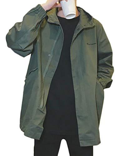 Hajotrawa Men Mid Length Trench Coat Outdoors Hoodies Retro Quilted Parka Jacket Army Green 2XL ()