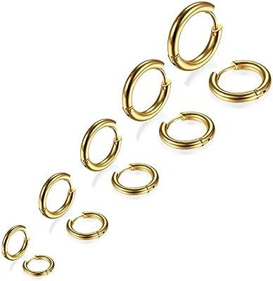 5 Pares Acero Inoxidable Pendientes Aro pour Hombre Mujer Niña Chico, Pendientes Hombre Aro, Pendientes Mujer Oro, Pendientes Aros Pequeños, Bisuteria ...