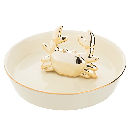 - MyGift Golden Crab Ring Holder Ceramic Jewelry Dish