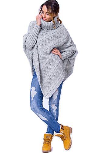WozWoz Women's Polo Neck Knit Poncho Cape Jumper with Sleeves (Grey) (Poncho Turtleneck)