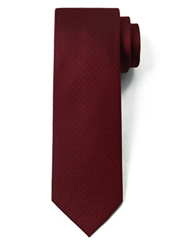 Origin Ties 100% Silk Textured Solid Color Men's Skinny Tie 3'' Necktie (Crimson Necktie)