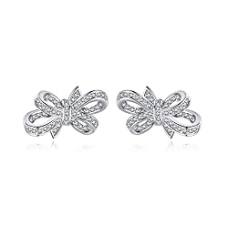 Sterling Silver Bowknot Earrings With Swarovski Crystal
