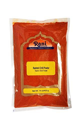 Rani Kashmiri Chilli Powder (Deggi Mirch, Low Heat) Ground Indian Spice 14oz (400g) ~ All Natural, Salt-Free   Vegan   No Colors   Gluten Free Ingredients   NON-GMO   Indian Origin (Best Chili Powder Brand)