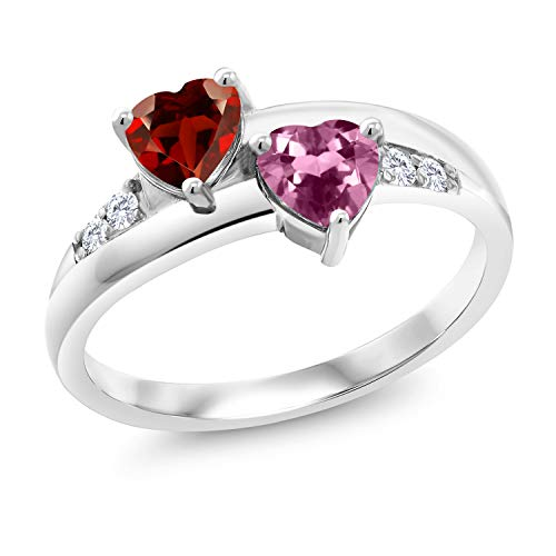 Gem Stone King 1.07 Ct Heart Shape Red Garnet Pink Tourmaline 925 Sterling Silver Lab Grown Diamond Ring (Size 9) ()
