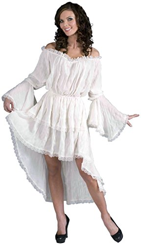 Forum Novelties Women's Ruffled Lace Costume Dress, White, (Bell Sleeves Lace Costume)