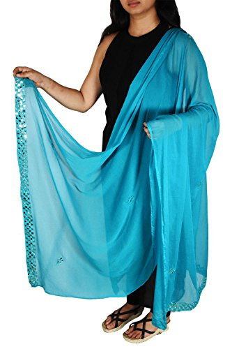 Turquoise Semi Chiffon Dupatta With Mirror Border Women Fashion Girls Scarves Stole Indian Clothing Hijab Scarf by Stylob
