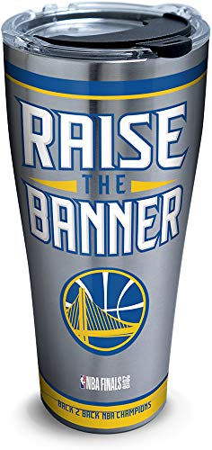 Tervis 1304665 Golden State Warriors 2018 Nba Champions Insulated Tumbler with Clear and Black Hammer Lid, 30 oz Stainless Steel, Silver