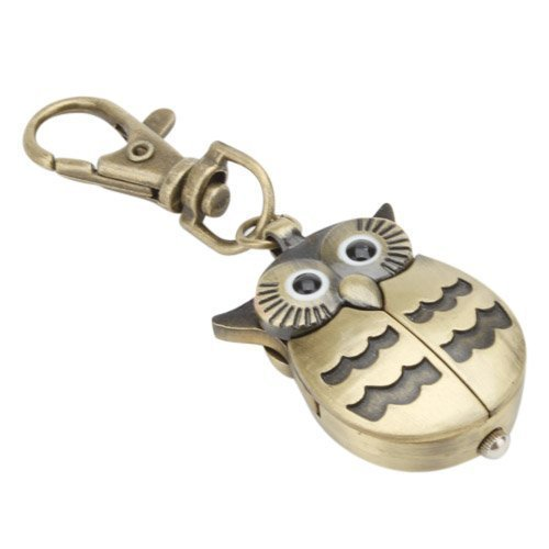 Vintage Silver /Bronze Big Eye Owl Bird Keychain Pocket Watch Clock Key Ring Quartz Dial Man Women Watch Mini (Keychain Pocket Watch)