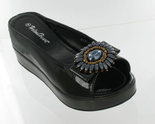 Hidden 8127 Medallion Heart with with Size Slide Black 11 17 Helen's Casual Wedge wIUn8wCq
