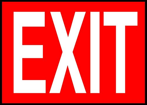 Exit (Red Background) Emergency Exit OSHA / ANSI LABEL DECAL STICKER Sticks to Any Surface 10x7 by Cortan360