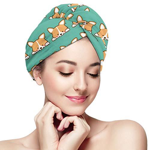 WFIRE Cute Corgi Dog Microfiber Dry Hair Hat Shower Caps Head Turban Towel