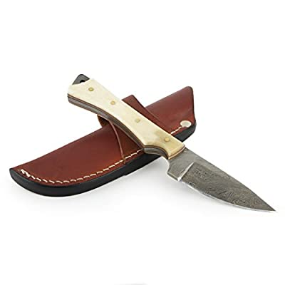 """Knives Ranch 8"""" Hunting Knife with Damascus Steel Blade and Modified Bone Handle"""