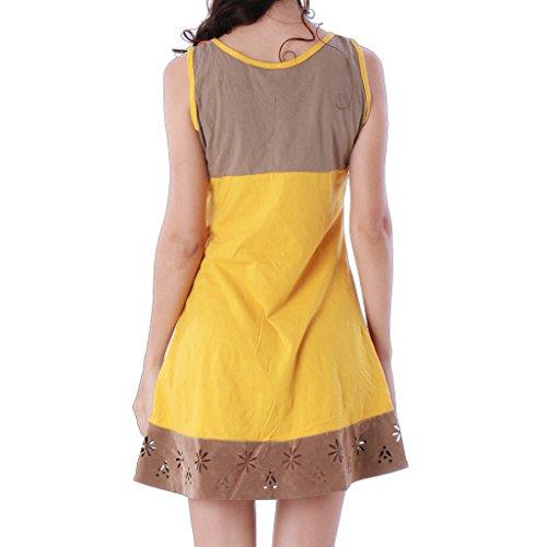 Marron Panasiam colore Robe en coton tunique 7OwXYqxS