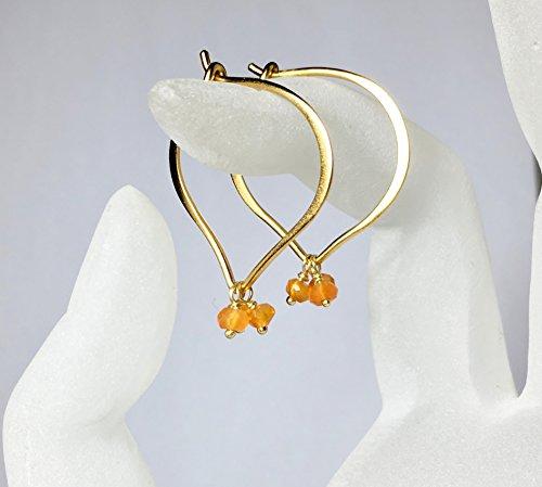 Gold Hoop Earrings, Medium or Large Carnelian Gemstones, Vermeil