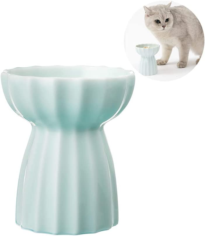 pidan Elevated Cat Bowl, Raised Cat Bowls for Food and Water, Orthopedic Ceramic Pet Dish for Small Dog and Kitten with Stand (Green)
